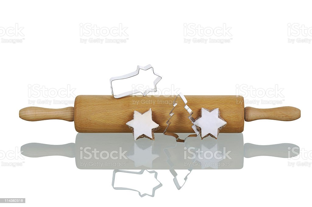 Baking for Christmas Theme Wood Rolling Pin stock photo