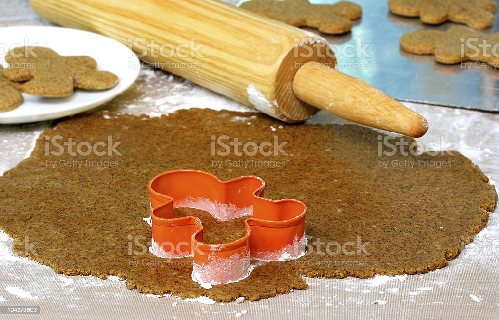 Baking Gingerbread Cookies royalty-free stock photo