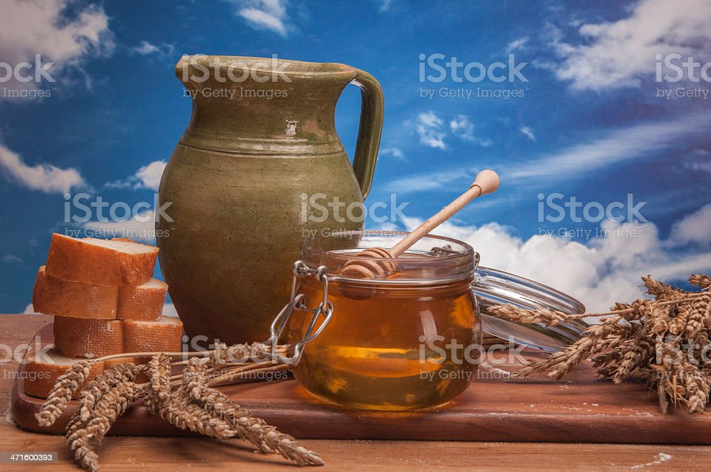 Baking goods with vegetables on sky background stock photo