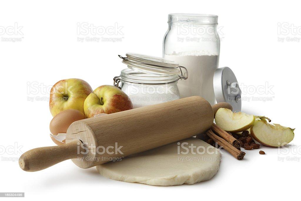 Baking Ingredients: Apple Pie (Flour, Eggs, Sugar, Apples, Cinnamon, Raisins) royalty-free stock photo
