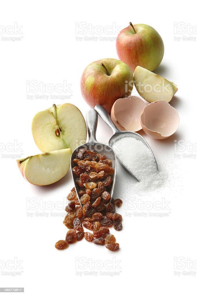 Baking Ingredients: Apple Pie (Apples, Eggs, Raisins and Sugar) royalty-free stock photo