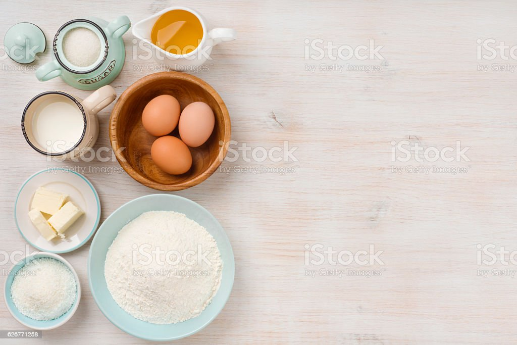 Baking ingredients background, baking concept, top view with copy space stock photo
