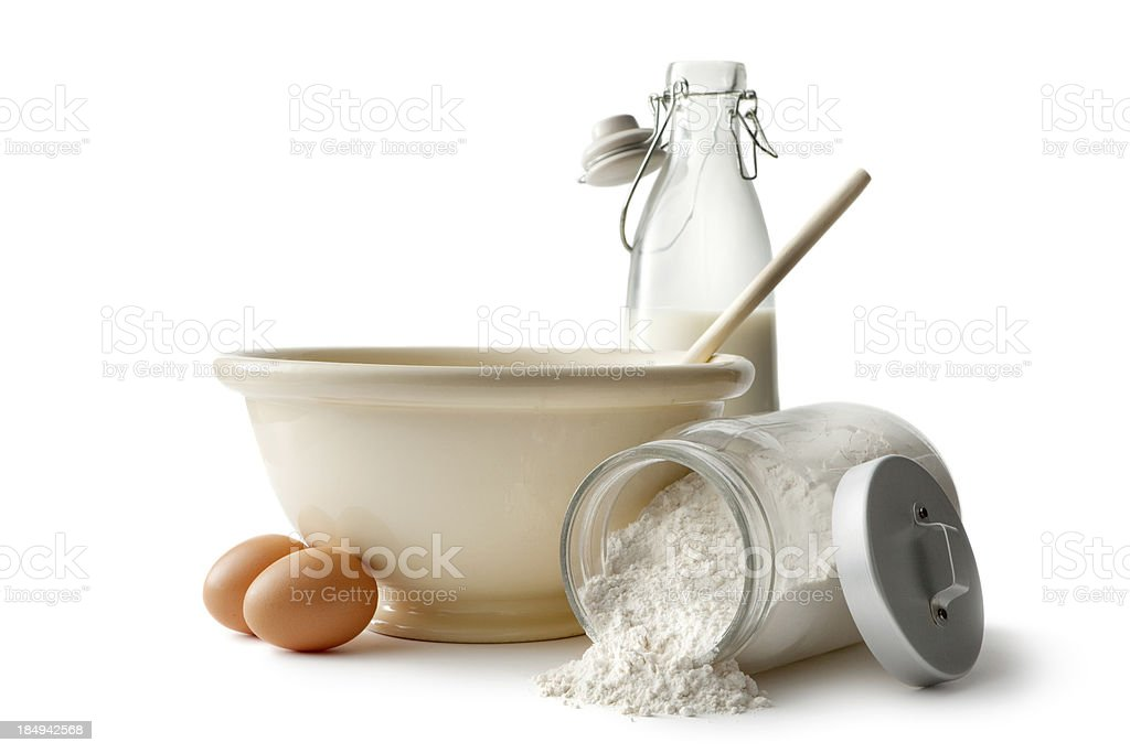 Baking Ingredients: Bowl, Eggs, Flour and Milk stock photo