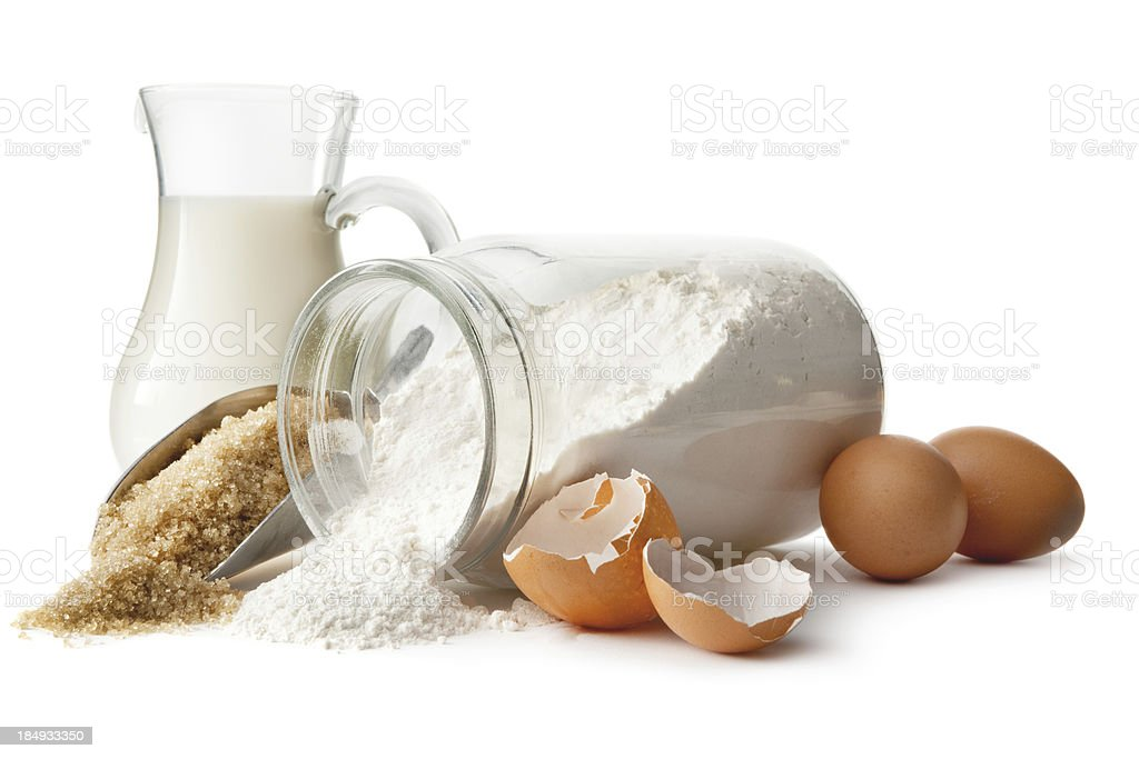 Baking Ingredients: Eggs, Sugar, Flour and Milk stock photo