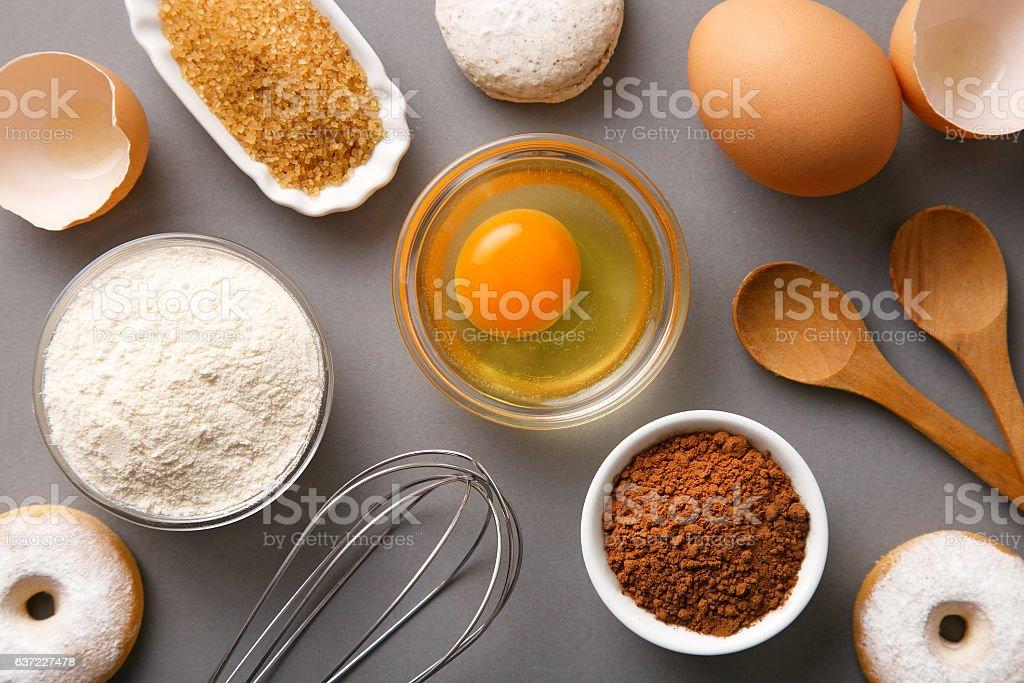 Baking ingredients flat lay. Top view stock photo