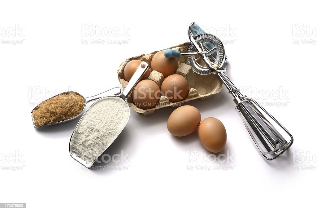 Baking Ingredients: Flour, Eggs and Sugar royalty-free stock photo