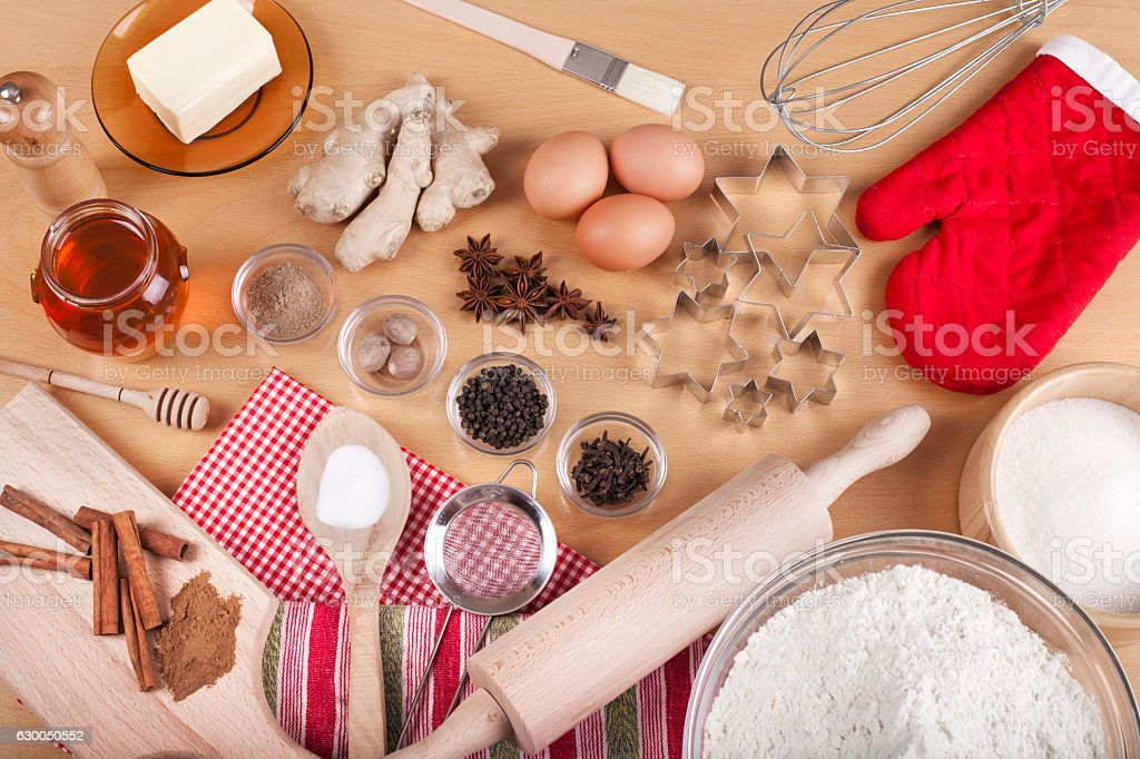 Baking ingredients for Christmas holiday traditional gingerbread cookies preparation stock photo