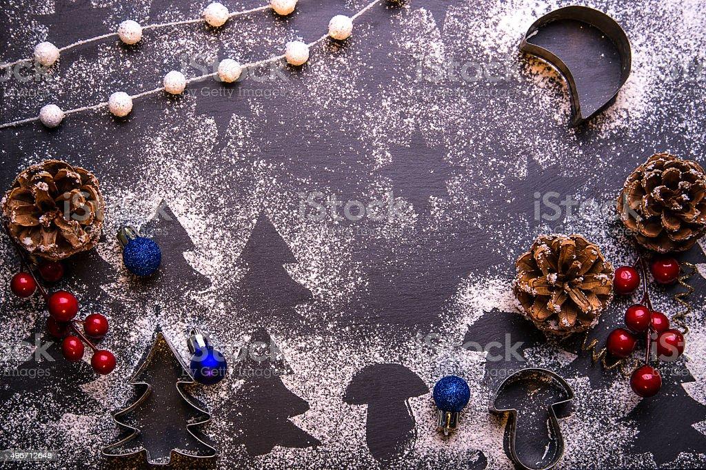 Baking ingredients on black board. Christmas cookies stock photo