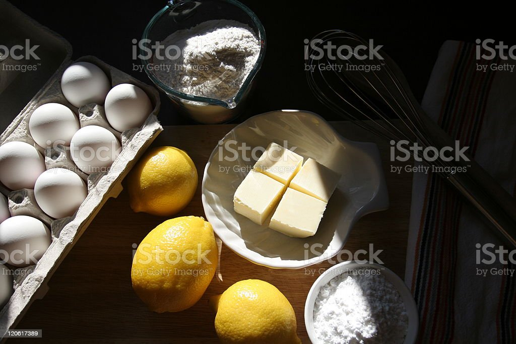 Baking ingredients on kitchen table, morning atmosphere royalty-free stock photo