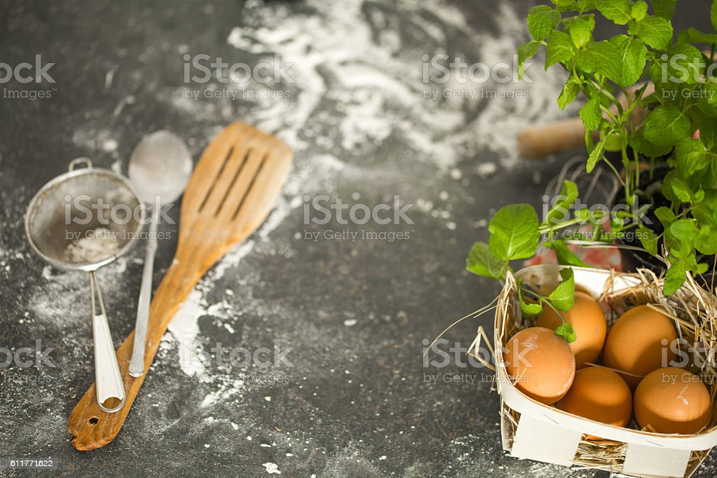 Baking ingredients on the kitchen table. Top view. stock photo