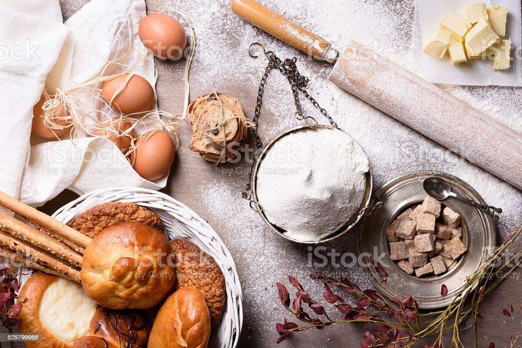 Baking ingredients, sweet pastry, eggs. stock photo