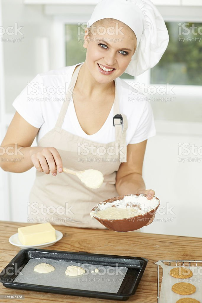 Baking is one of her passions royalty-free stock photo