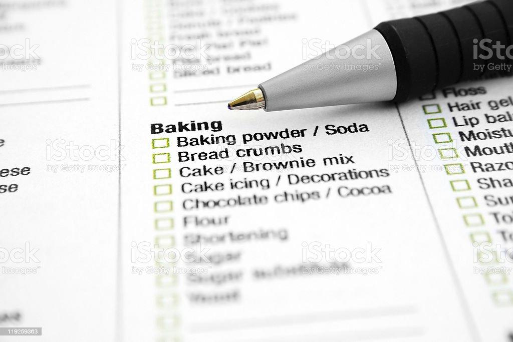 Baking list royalty-free stock photo