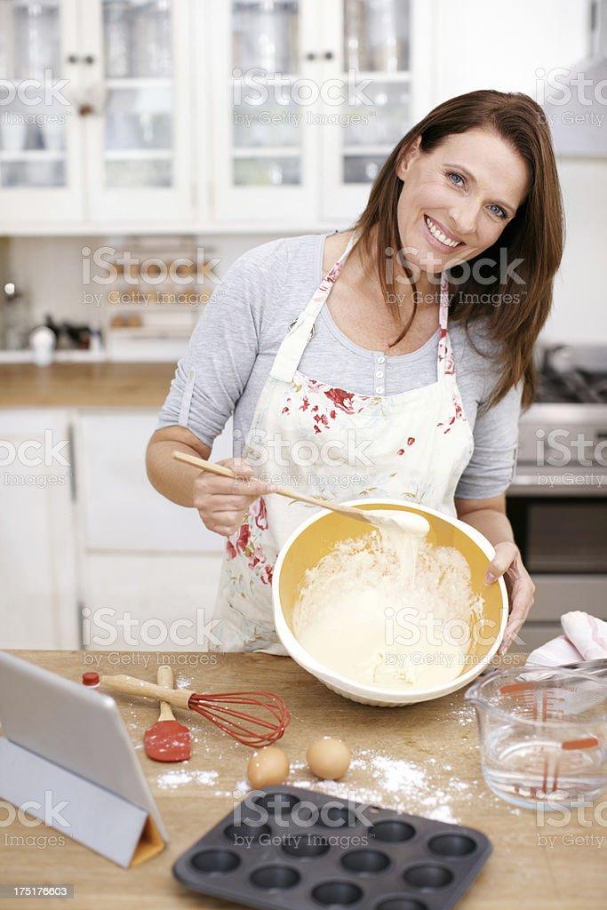Baking makes her smile royalty-free stock photo
