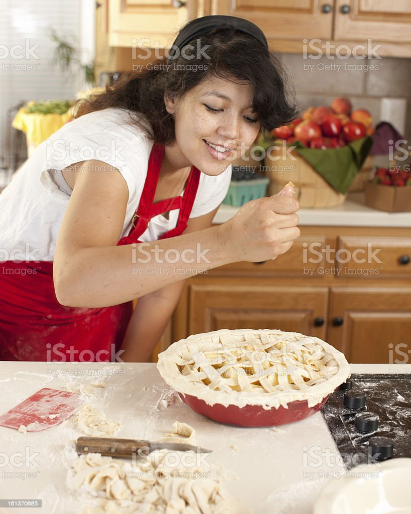 Baking: Mixed Race Young Adult Woman Making Apple Pie Kitchen royalty-free stock photo