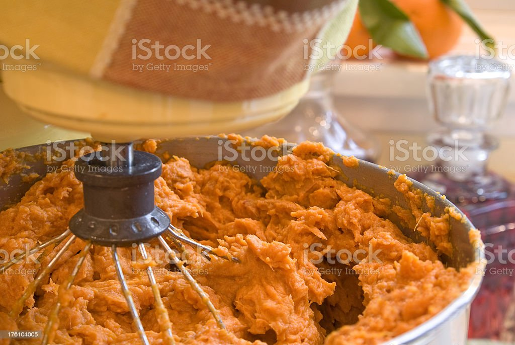 Baking of Pumpkin &  Cooking Mashed Sweet Potato or Yam Pie stock photo