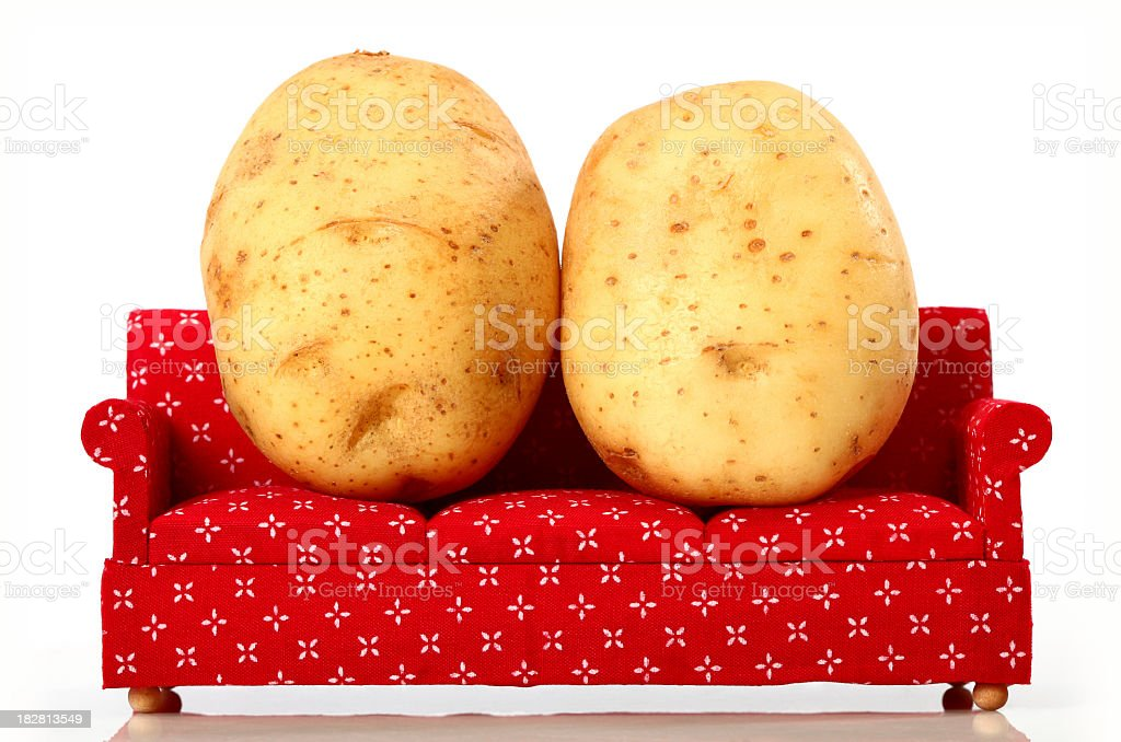 2 baking potatoes on a red couch stock photo