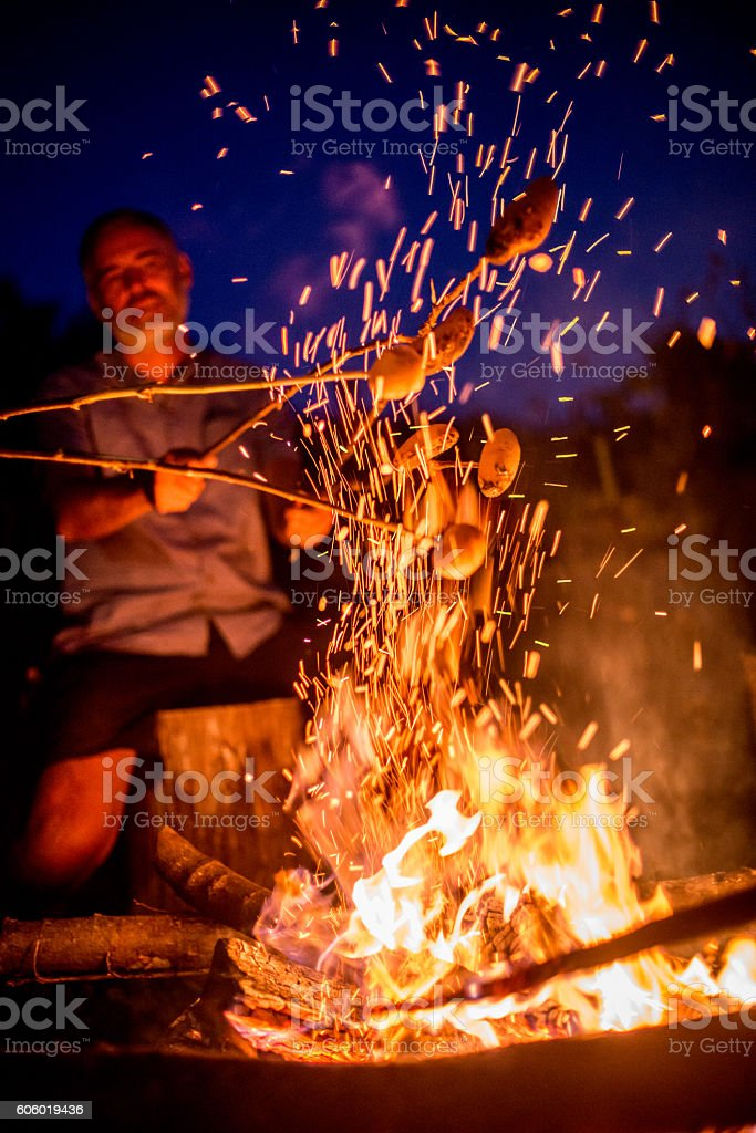 Baking Potatoes on Bonfire stock photo