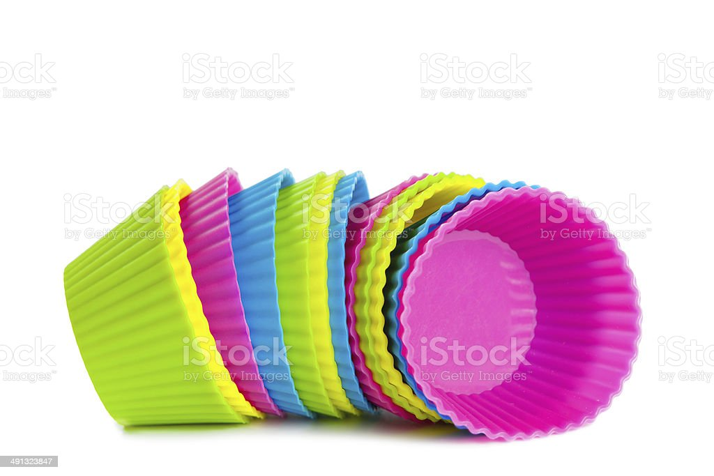 baking silicone cups for cupcakes or muffins stock photo