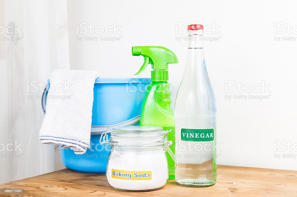 Baking soda with vinegar, natural mix for effective house cleani stock photo