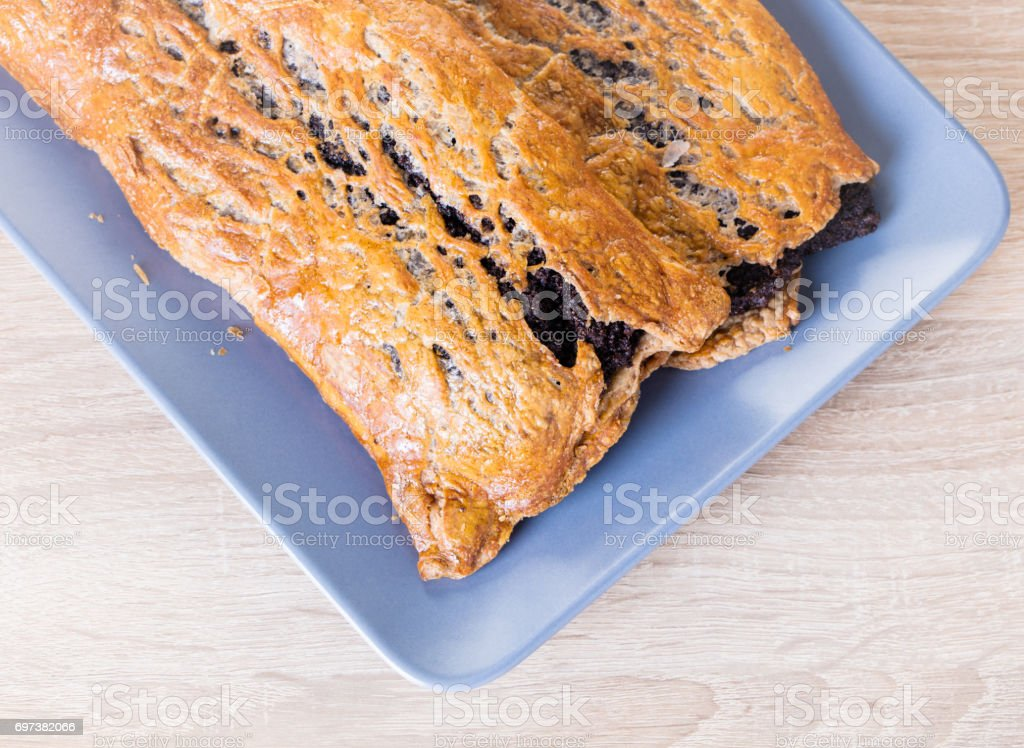 Baking strudel with poppy seeds stock photo
