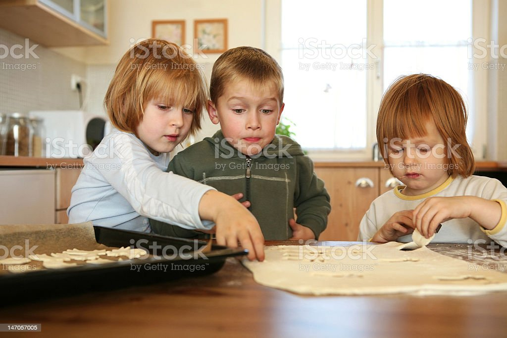 baking together,christmas cookies royalty-free stock photo