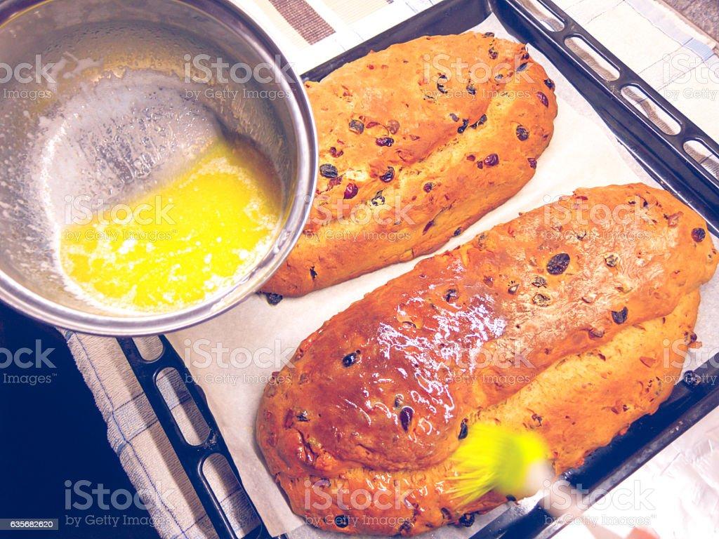 Baking traditional German Christmas cake stock photo