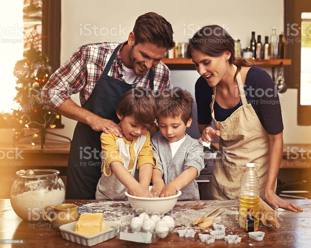Baking under supervision stock photo