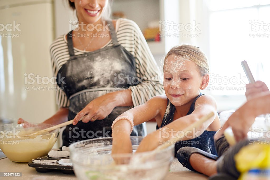 Baking up a storm! stock photo
