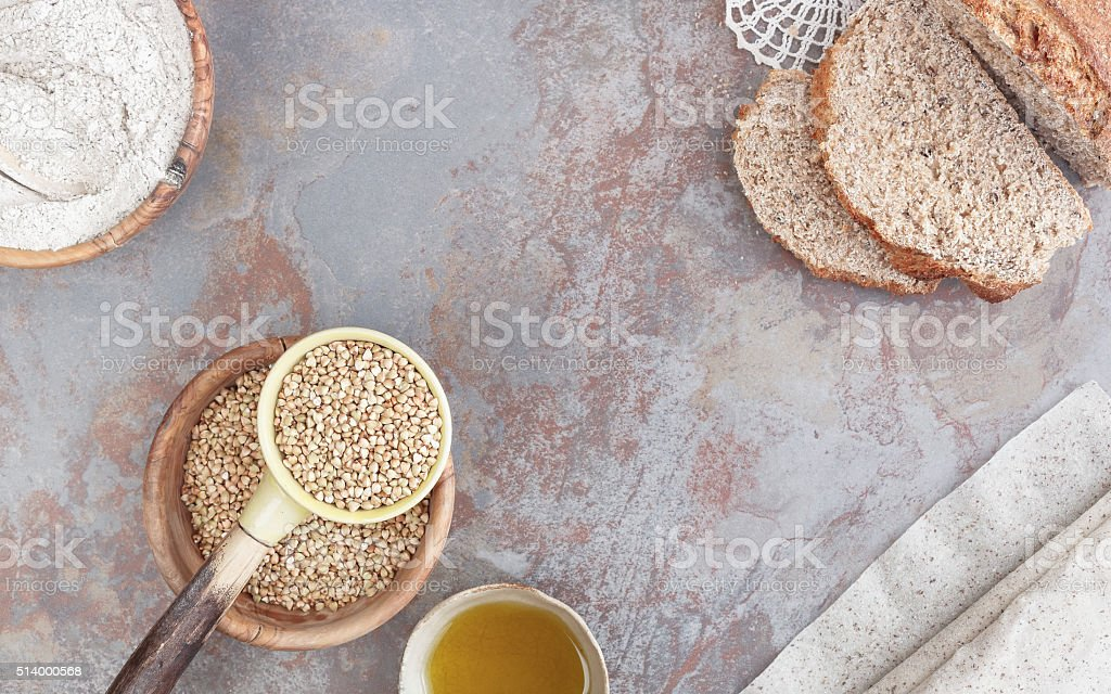 Baking with buckwheat stock photo
