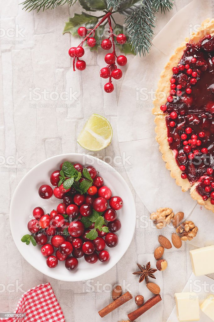 Baking with cranberries stock photo