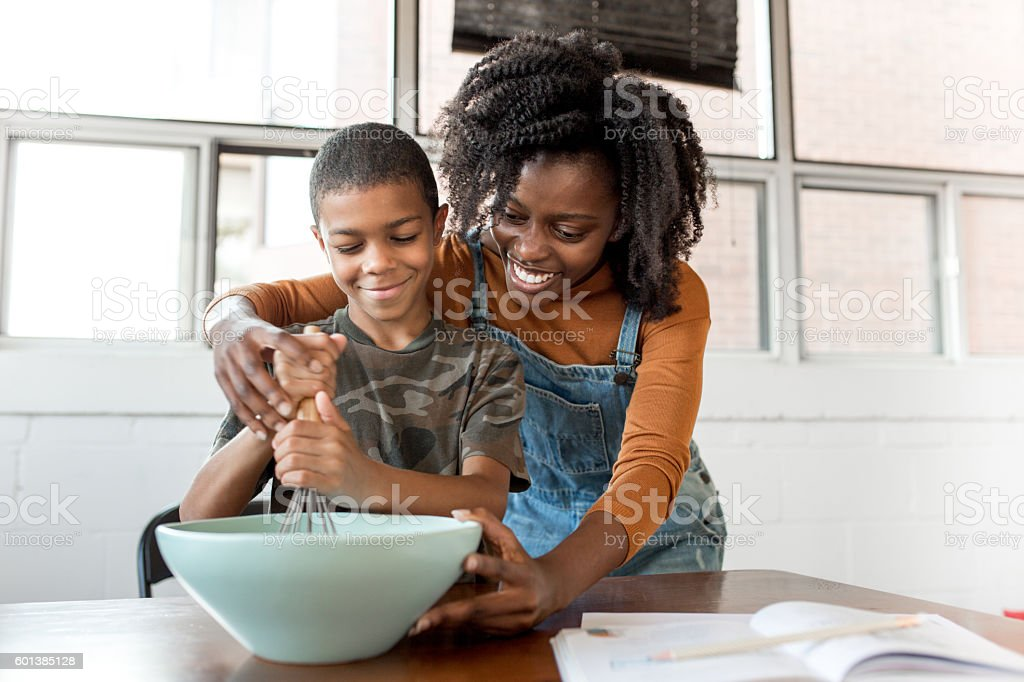 Baking with mom stock photo
