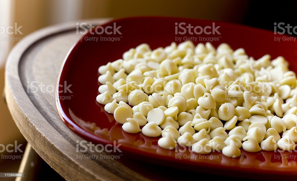 Baking with White Chocolate Candy Chips royalty-free stock photo