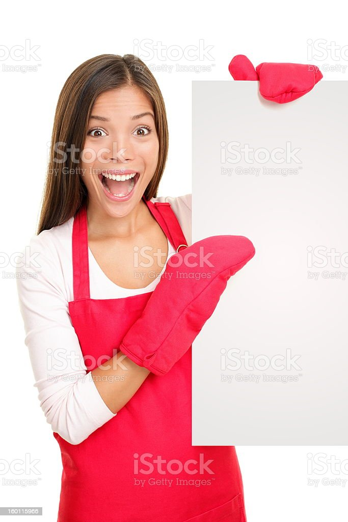 Baking woman showing blank poster sign royalty-free stock photo