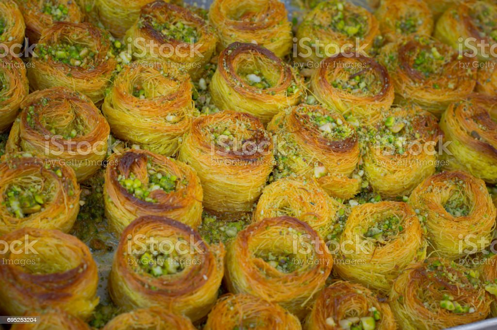 Baklava. Eastern sweets on the market. Top view. Close-up stock photo