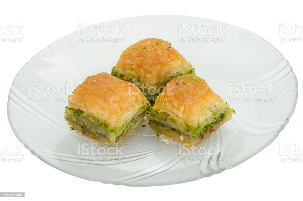Baklava with pistachio on a white background stock photo
