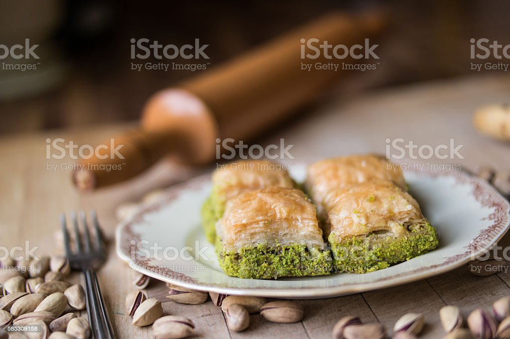 Baklava with pistachio / Turkish Traditional Dessert stock photo