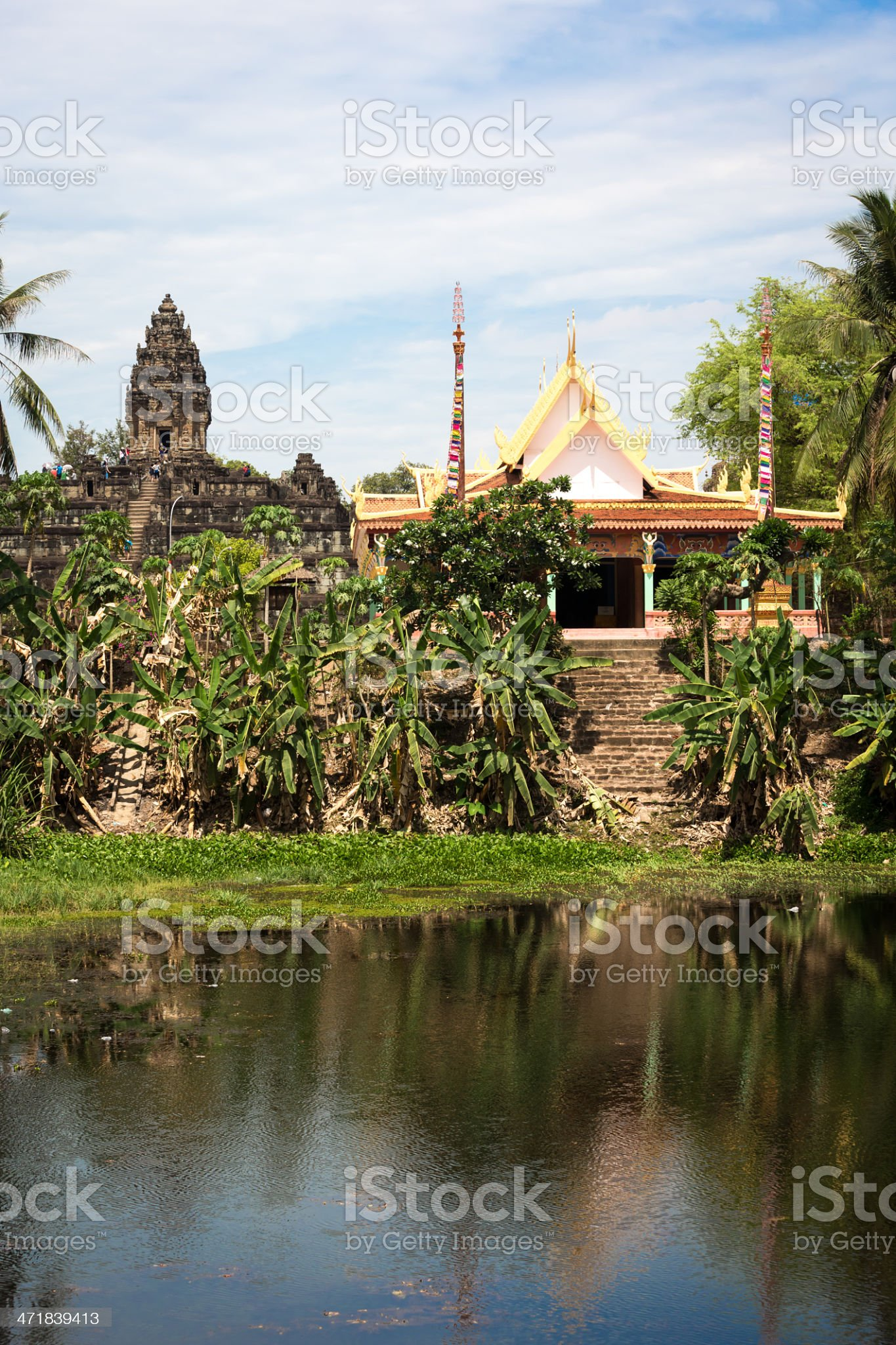 Bakong Temple In Siem Reap and Lake, Cambodia royalty-free stock photo
