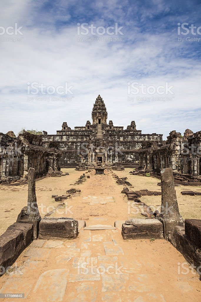 Bakong Temple In Siem Reap With Flowers royalty-free stock photo