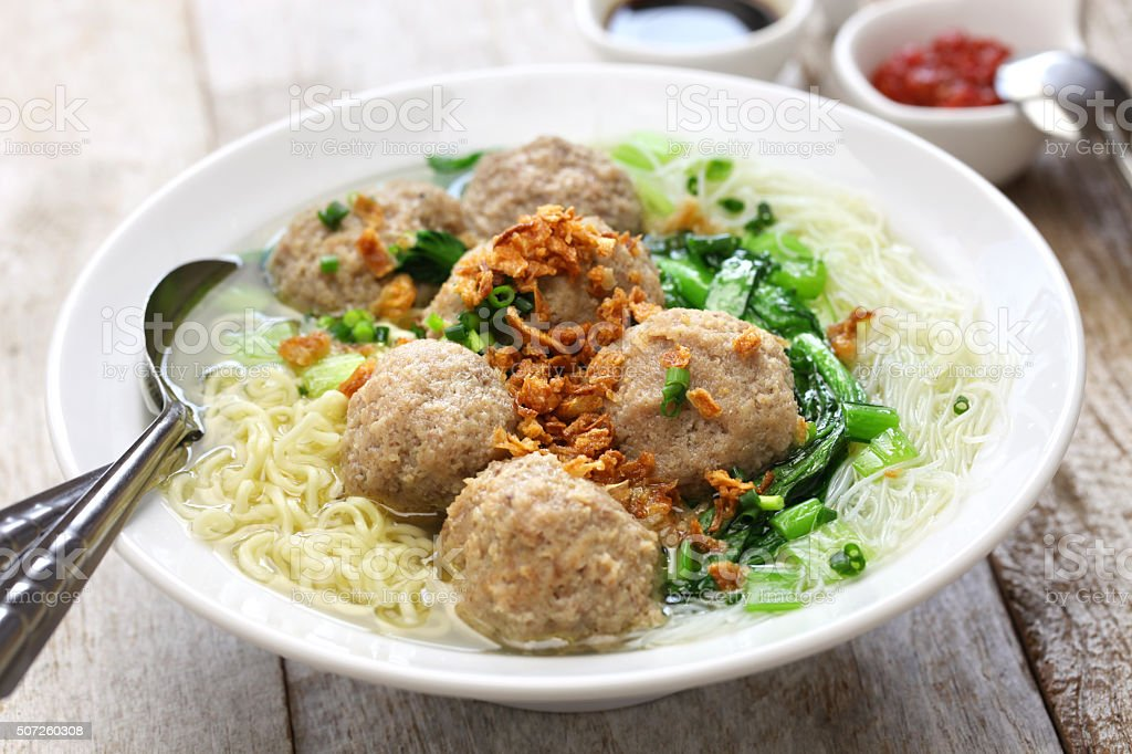 bakso, indonesian meatball soup with noodles stock photo
