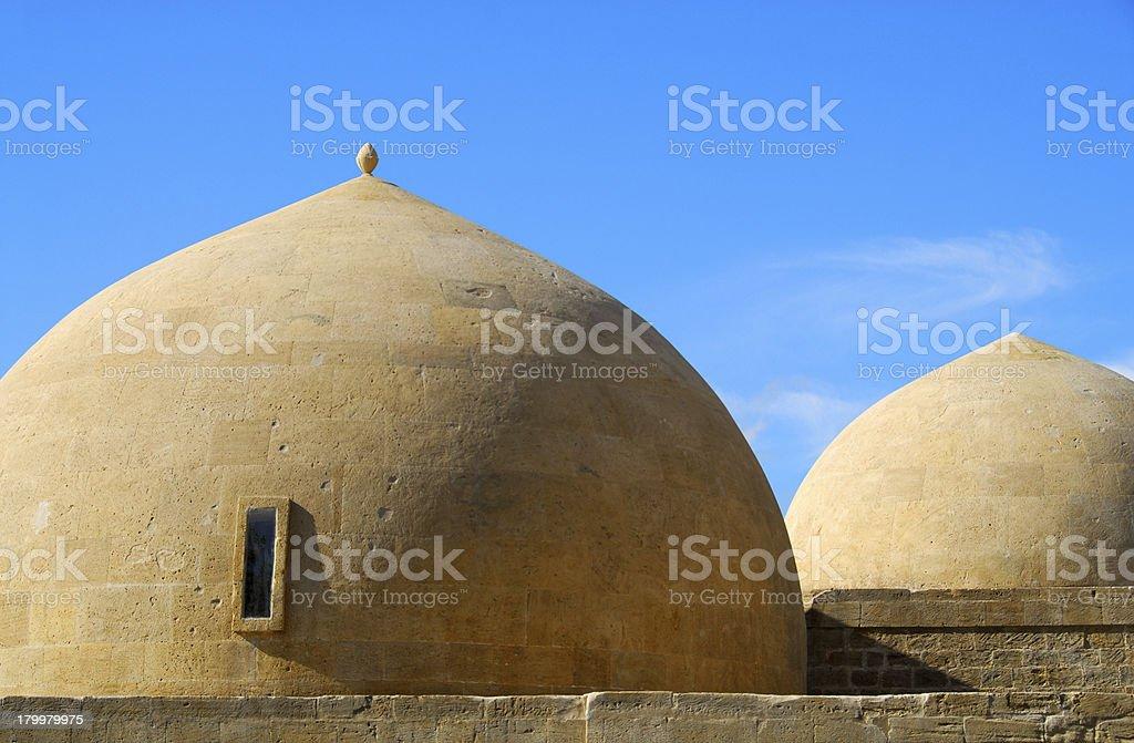 Baku, Azerbaijan: stone masonry domes of the Royal mosque stock photo