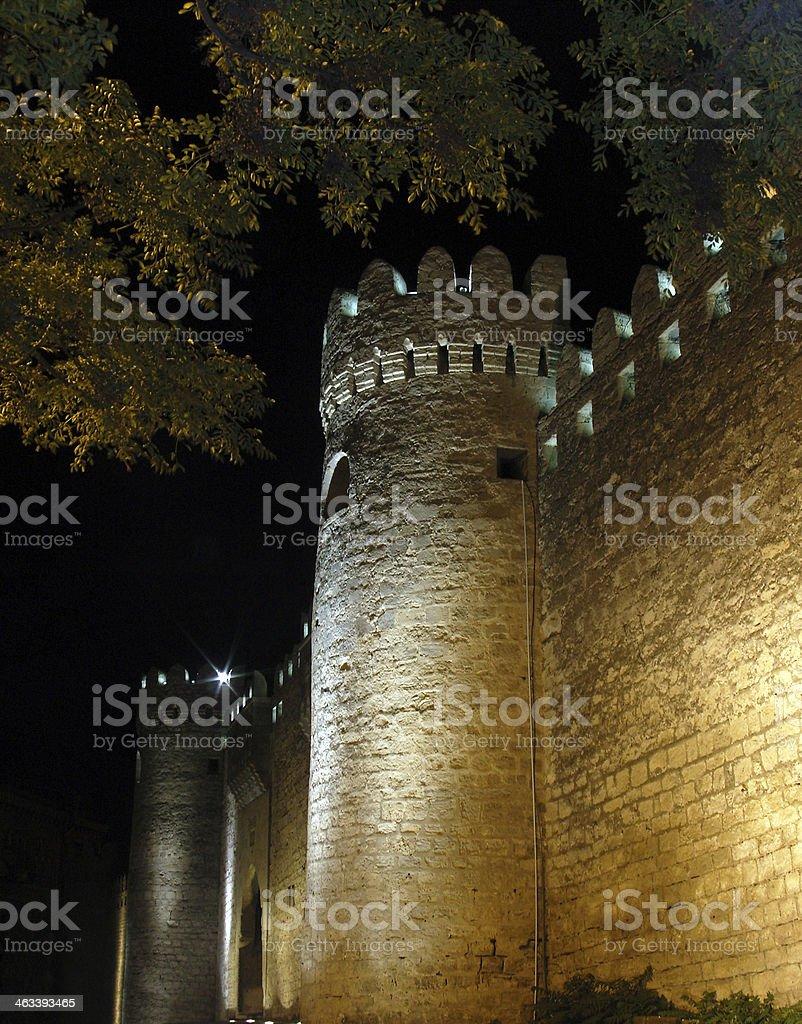 Baku city walls - nocturnal stock photo