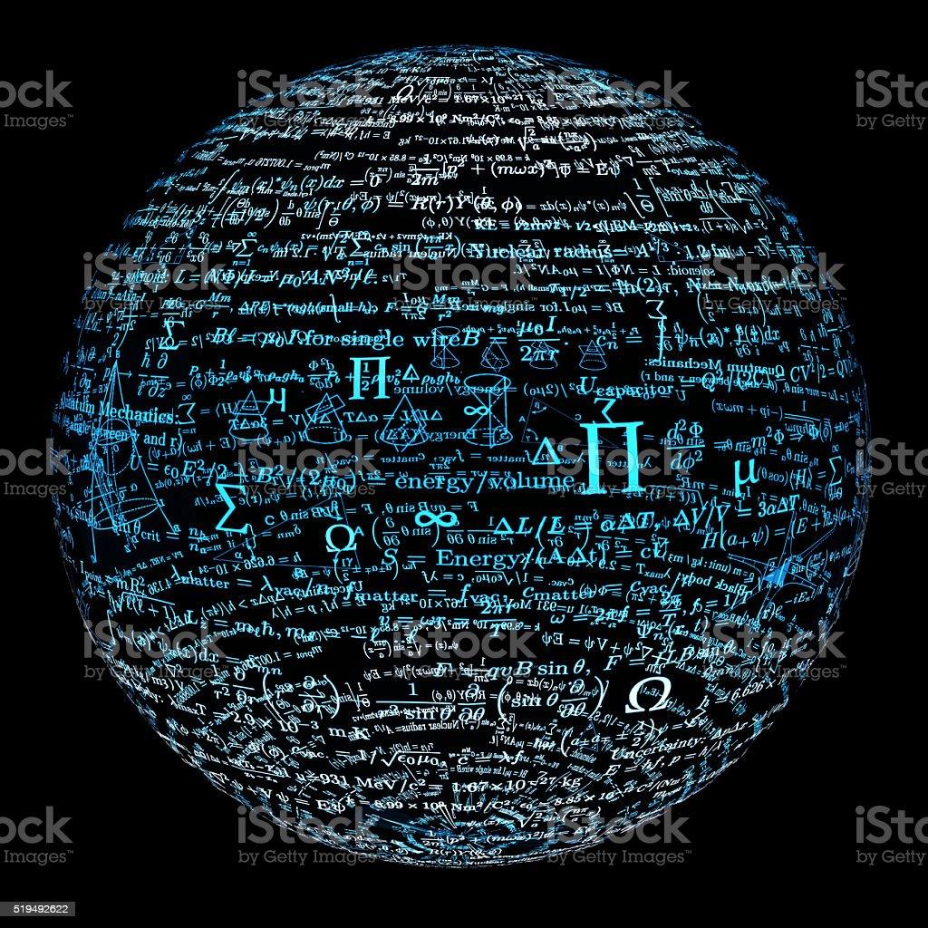 bal made of mathematical formulas stock photo