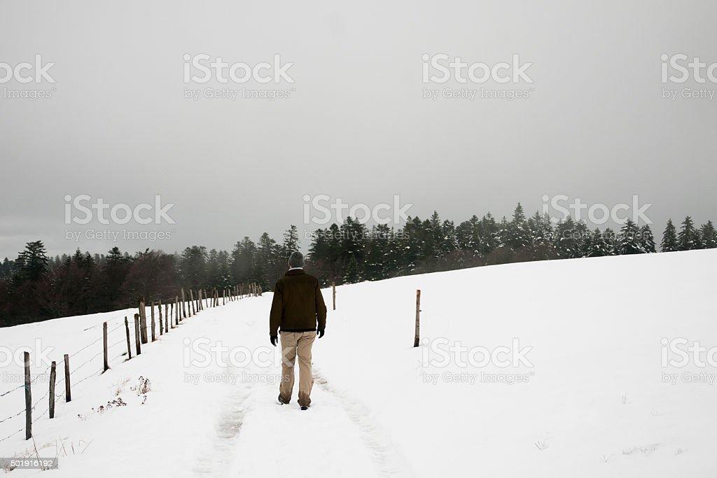 Balade dans la neige stock photo