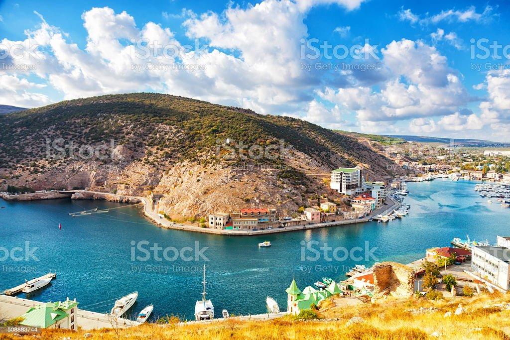 Balaklava Bay in sunny autumn day stock photo