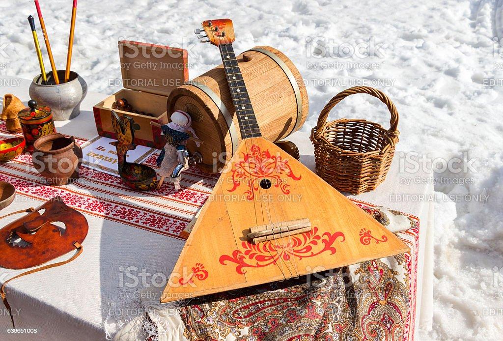 Balalaika and other products of Russian folk art stock photo
