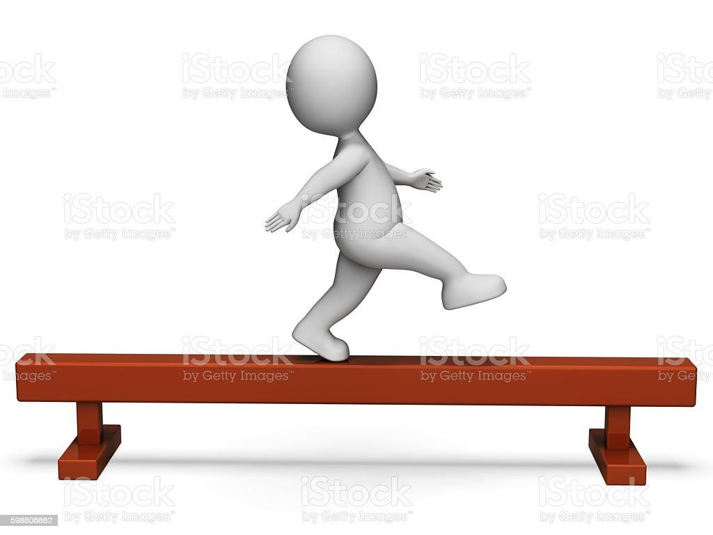 Balance Beam Represents Get Fit And Exercise 3d Rendering stock photo