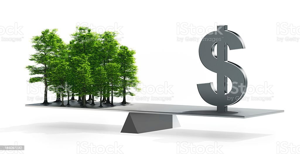 Balance between money and the environment stock photo