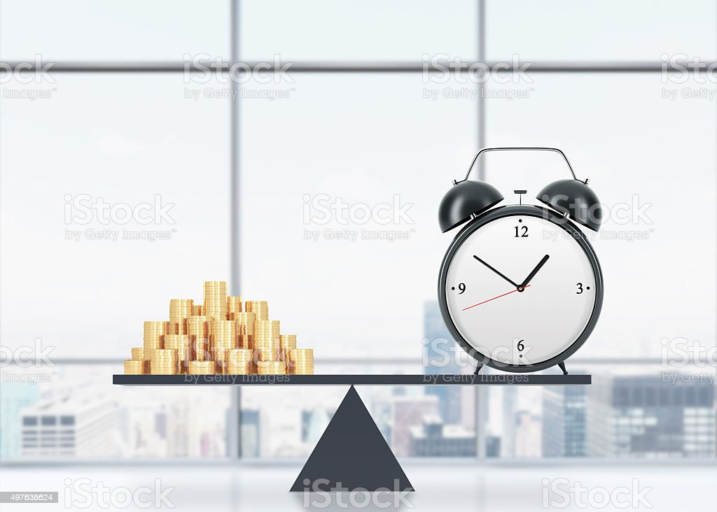 A balance between time and money. On the one side is money, on the...