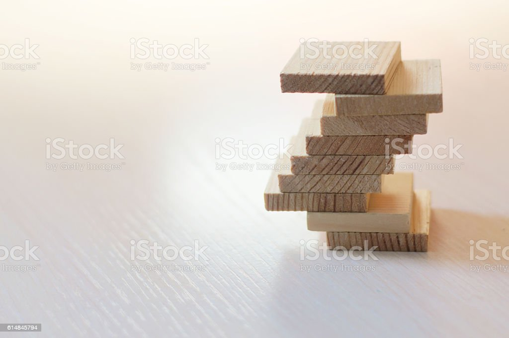 Balance concept with wooden planks stock photo